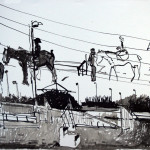 Horses on power lines